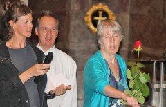 Katrin Penz, Reinhold Jopp und Birgit Purtscheller in der Jesuitenkirche Innsbruck